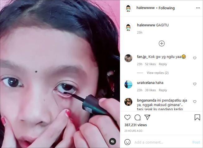 Cara bocah ini pakai eyeliner bikin warganet ngeri. (Instagram/@halewwww)