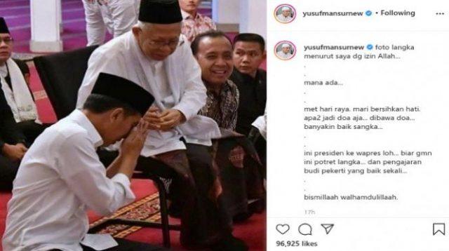Beredar Foto jokowi bersimpuh ke KH Ma'ruf Amin (Instagram/yusufmansurnew)