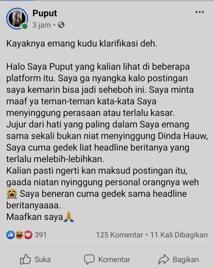 Sosok warganet Puput akhirnya klarifikasi soal komentarnya. Foto: Instagram