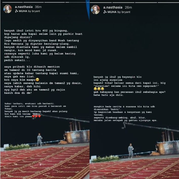 Unggahan istri awak KRI Nanggala-402. Sumber: Instagram