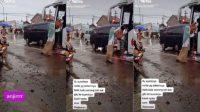 Viral video suami didorong istri naik bus (TikTok/cikosanjaya26)