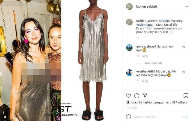 Harga dress Dua Lipa di acara pesta ulang tahun pacar. (Instagram/@fashion_selebrit)