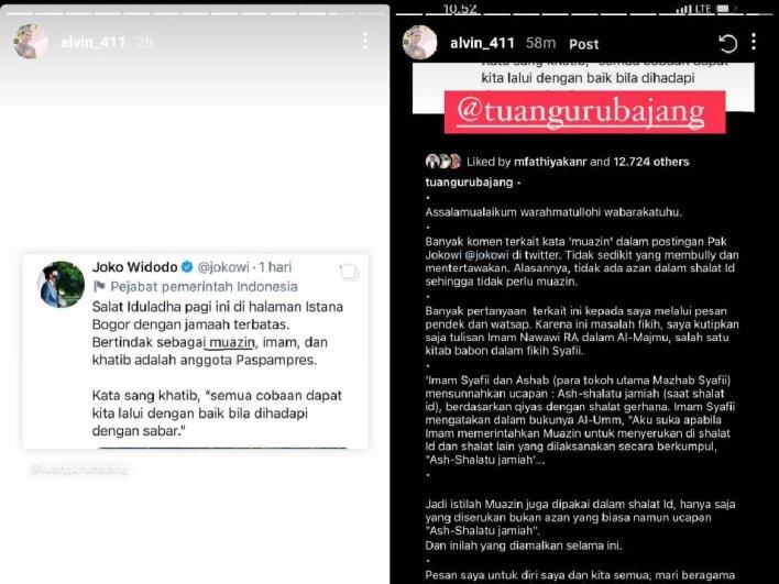 Alvin Faiz unggah ulang tulisan Tuan Guru Bajang. Foto: Instagram