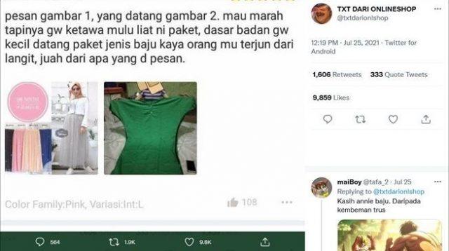 Viral ulasan wanita belanja baju online berujung kecewa. (Twitter/@txtdarionlshop)