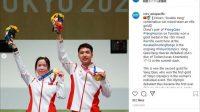 Atlet Tiongkok, Yang Qian, memakai jepit rambut di Olimpiade Tokyo 2020. (Instagram/@cctv_asiapacific)