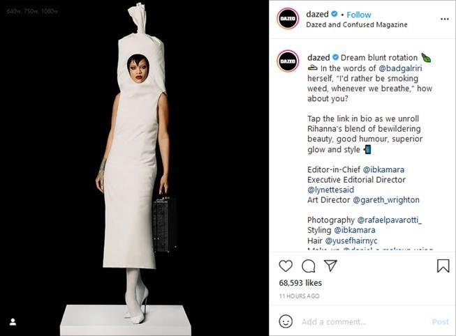 Pemotretan Rihanna untuk cover majalah Dazed dibilang mirip tampon hingga pocong. (Instagram/@dazed)
